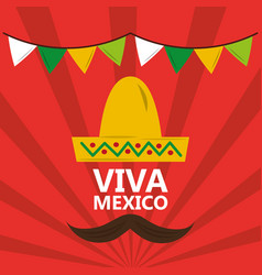 Viva mexico hat mustache pennant red background vector
