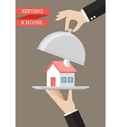 Waiter serving a house vector image