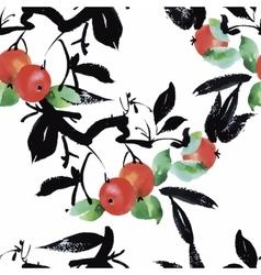 Watercolor garden rowan plant seamless pattern vector image vector image