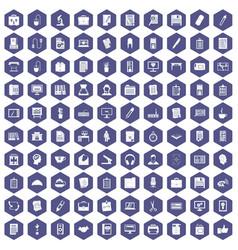 100 office icons hexagon purple vector