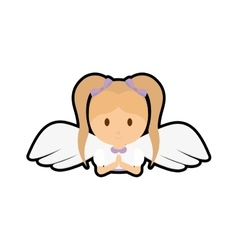 Girl kid angel cartoon icon vector