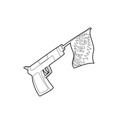 Gun with flag toy icon outline style vector