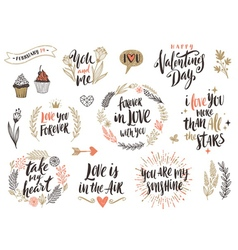 Valentines day hand drawn set vector