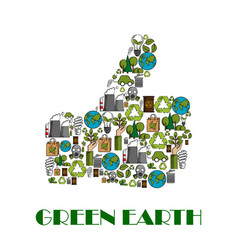 Green earth environment protection thumb up poster vector