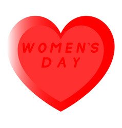 Red heart for womens day with two path and an red vector