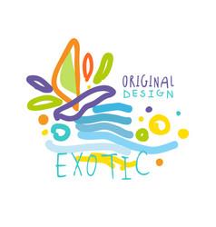 exotic logo original design summer travel vector image