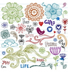 spring doodles vector image