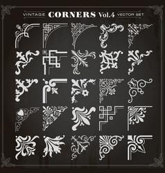 Vintage design elements corners and borders set 4 vector