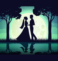 Silhouettes of the bride and groom on the moon vector