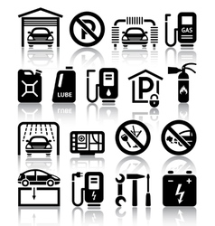 Transport service set of black icons vector