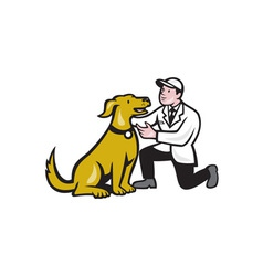Veterinarian vet kneeling with pet dog cartoon vector