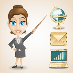 Businesswoman gold envelope globe and notebook vector