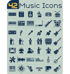42 music icons set vector