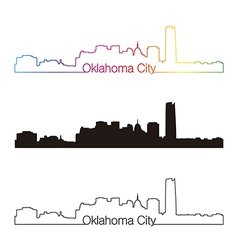 Oklahoma City skyline linear style with rainbow vector image