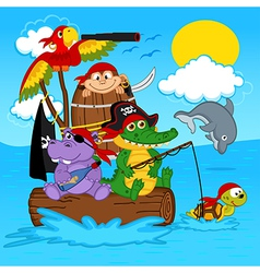 Animals pirates vector
