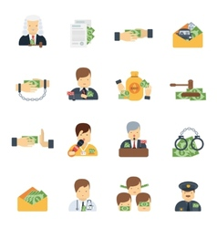 Corruption icons flat vector