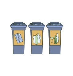 Colored doodle recycle bins garbage separation vector