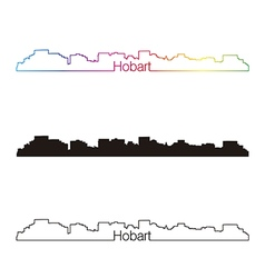 Hobart skyline linear style with rainbow vector