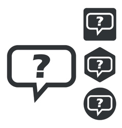 Question message icon set monochrome vector