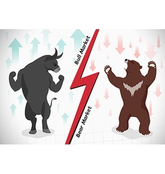 Stock market concept bull and bear vector