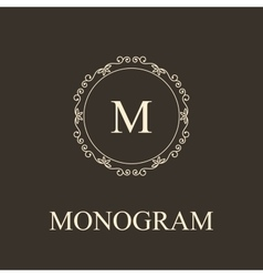 Simple monogram design template elegant lineart vector