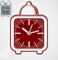 Squared 3d alarm clock with clock bell decorative vector