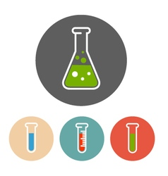 Liquid in flask and test tubes icons vector