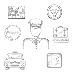 Taxi driver and service icons sketch vector