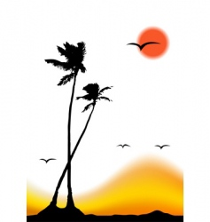 Tropical sunset palm tree silhouette vector