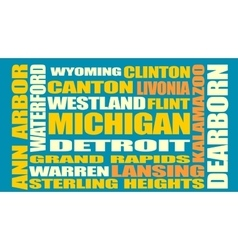 Michigan state cities list vector