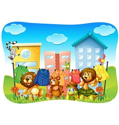 Animals doing laundry outside vector image vector image