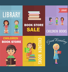 Bookstore sale and children library with readers vector