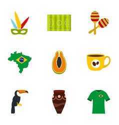 Brazil country icon set flat style vector