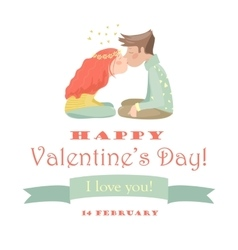 Card with kissing couple vector