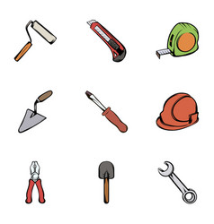 Construction tools icons set cartoon style vector