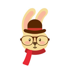 cute rabbit hipster hat scarf and glasses vector image