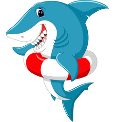 cute shark cartoon with inflatable ring vector image vector image
