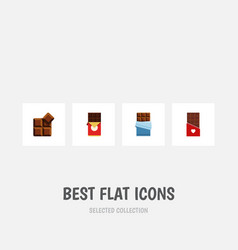 Flat icon sweet set of bitter chocolate cocoa vector