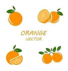 flat orange icons set vector image