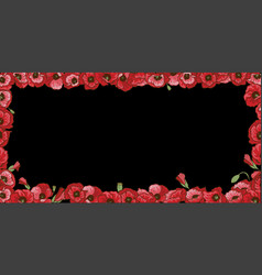 Floral frame of red poppy flowers isolated on vector