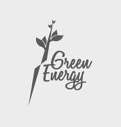 Green energy logo symbol or label design vector