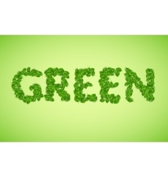 green word made from green leaves vector image
