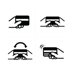 Hand holding a credit card vector