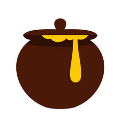 Honey pot icon flat style vector
