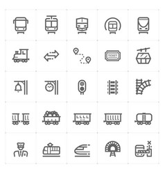 icon set - train and transport vector image vector image