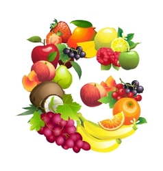 Letter G composed of different fruits with leaves vector image vector image