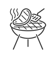 Line style barbecue icon vector