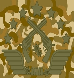 Military logo pistol shooter vector