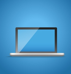 Modern laptop computer on blue vector