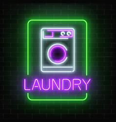 Neon glowing laundry signboard on dark brick wall vector